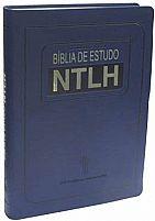 BÍBLIA DE ESTUDO NTLH CAPA COURO SINTÉTICO AZUL
