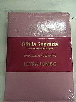 BIBLIA RC LETRA JUMBO COM HARPA E CORINHOS ROSA