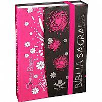 Bíblia Sagrada ra com Sticky Notes preta e rosa 7898521812997