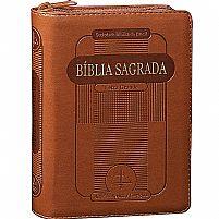 BIBLIA RC LETRA GRANDE CAPA COURO SINTETICO MARROM COM ZÍPER