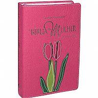 BIBLIA DA MULHER RA CAPA SINTETICO PINK TULIPA 7898521813710