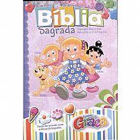 BÍBLIA SAGRADA TURMINHA DA GRAÇA FEMININA CAPA FLEXÍVEL 7898521813147